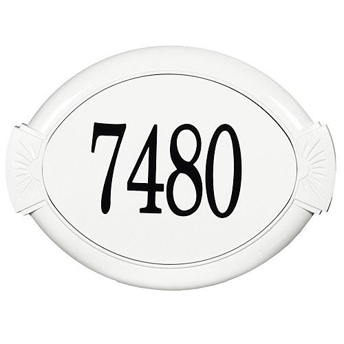Plaque d'Adresse Classique en Aluminium, Blanc