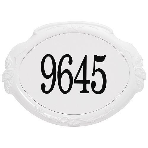 Floral Aluminum Address Plaque, White