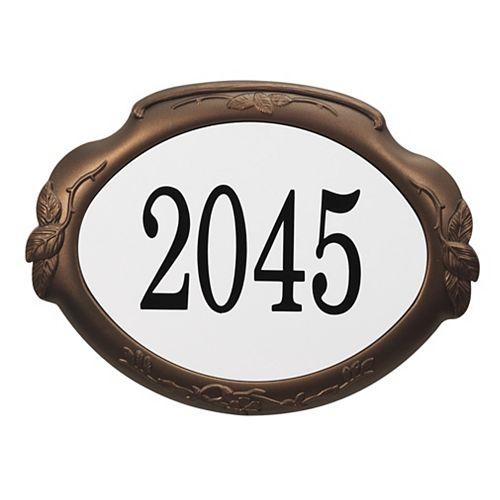 Floral Aluminum Address Plaque, Antique Bronze