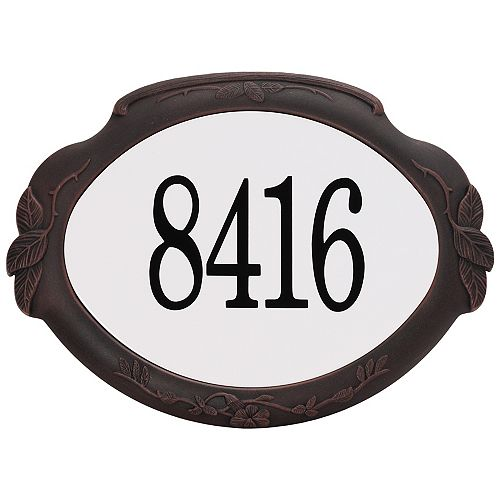 Floral Aluminum Address Plaque, Antique Copper
