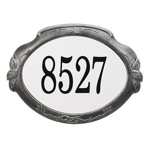 Floral Aluminum Address Plaque, Swedish Silver