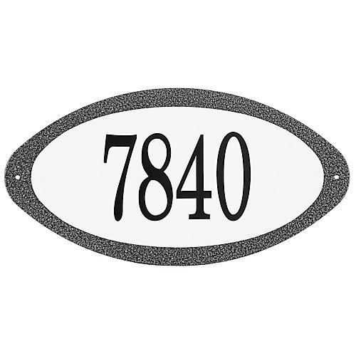 Antique Steel Address Plaque, Granit Black/White