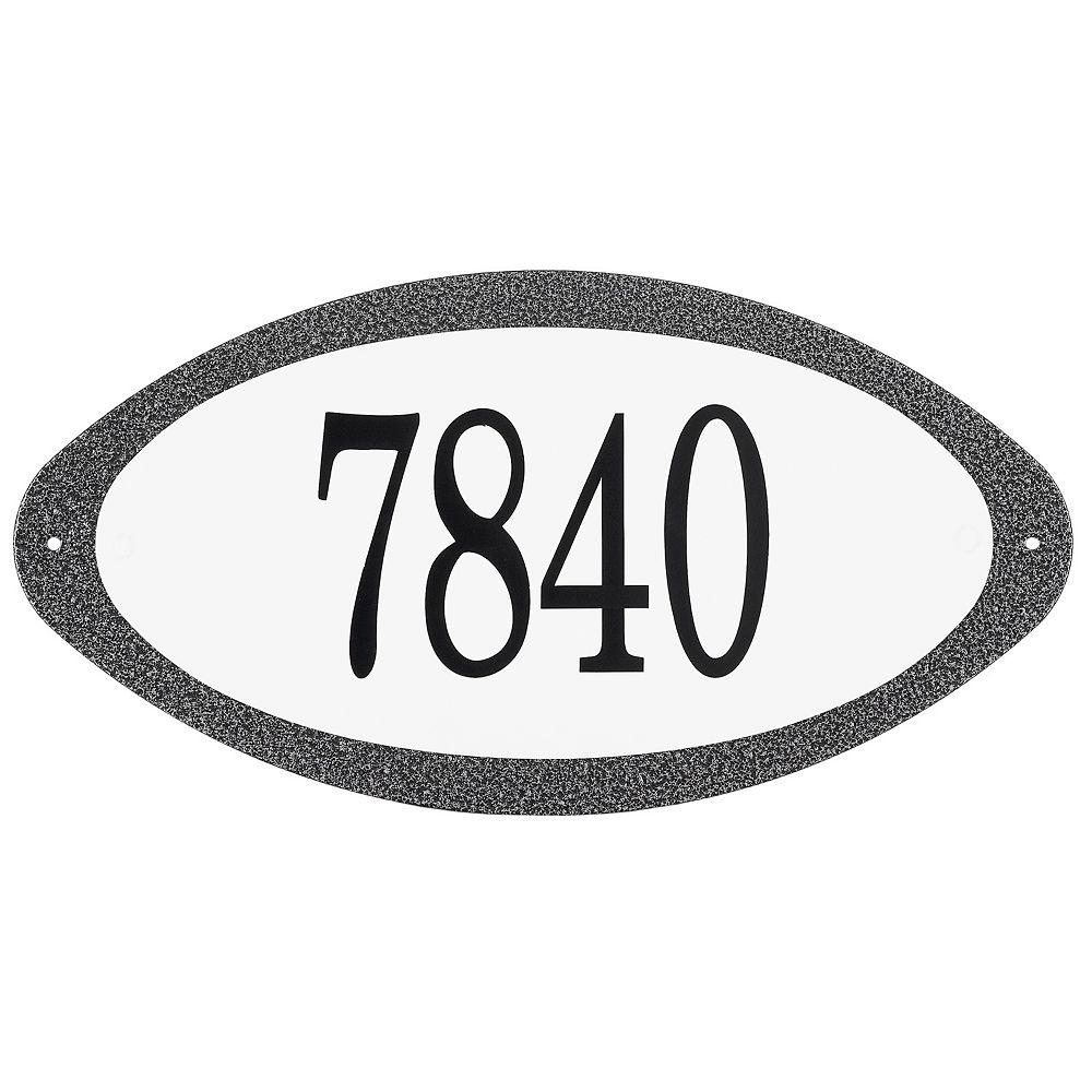 PRO-DF Antique Steel Address Plaque, Granit Black/White