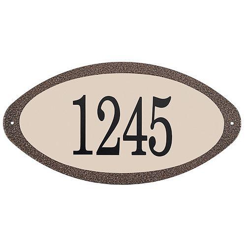 Antique Steel Address Plaque, Granit Gold/Sand
