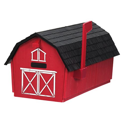Barn Post Mount Mailbox, Red