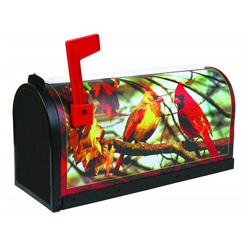 Boîte aux Lettres Rurale avec Cardinals, Noir