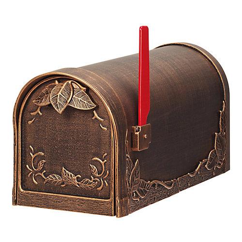 Floral Post Mount Mailbox, Antique Bronze