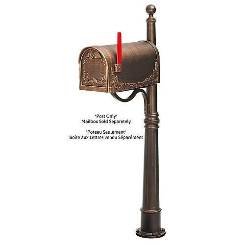 Poteau en Aluminium pour Boite aux Lettres Florale, Bronze Antique