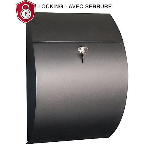 Contemporary Locking Mailbox, Black