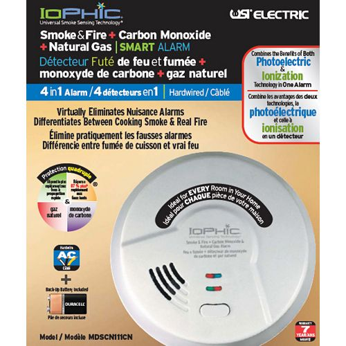 Hardwired 4 in 1 Alarm--Smoke+Fire+Carbon Monoxide +Natural Gas