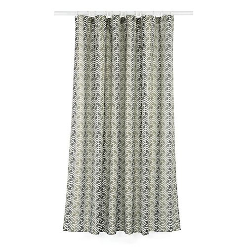 Metro Geometric Chevron Fabric Shower Curtain Liner Ring Set (14-Piece) Green/Grey/Linen Beige