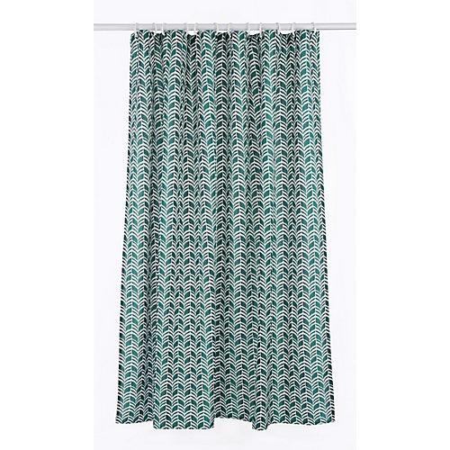 Metro ensemble de rideau de douche à motif géométrique (14 pièces), vert/lin