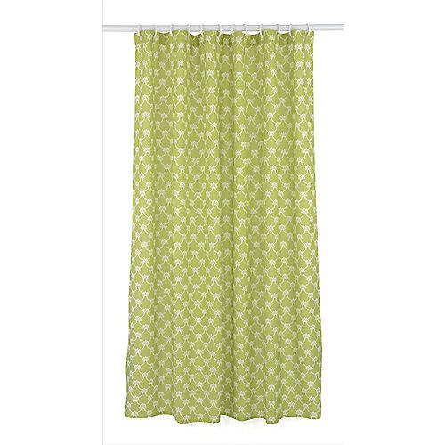 Manhattan ensemble de rideau de douche à motif géométrique (14 pièces), vert olive/blanc