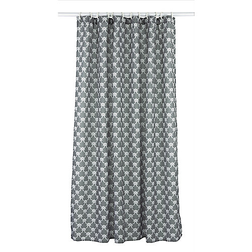 Manhattan ensemble de rideau de douche à motif géométrique (14 pièces), gris fonce/blanc