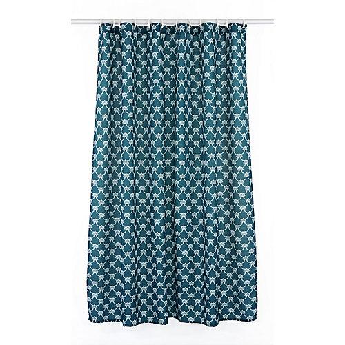 Manhattan ensemble de rideau de douche à motif géométrique (14 pièces), bleu ocean/blanc
