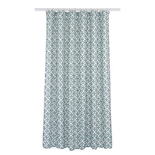Madison ensemble de rideau de douche à motif géométrique (14 pièces), bleu aqua/blanc