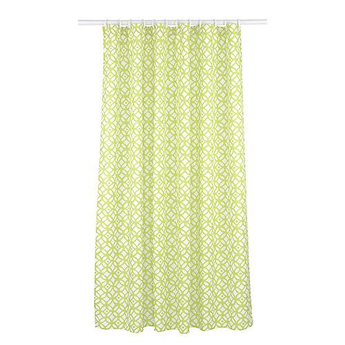 madison ensemble de rideau de douche à motif géométrique (14 pièces), chartreuse/blanc