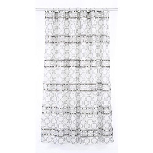 Vogue ensemble de rideau de douche à motif géométrique (14 pièces), blanc/brun