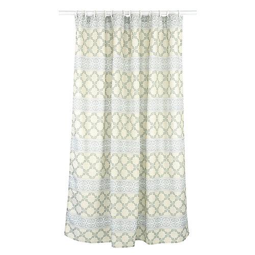 Vogue ensemble de rideau de douche à motif géométrique (14 pièces), lin/gris/vert