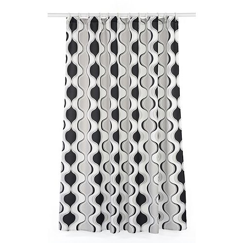 Aquarius Geometric Fabric Shower Curtain Liner Ring Set (14-Piece) White/Black/Grey