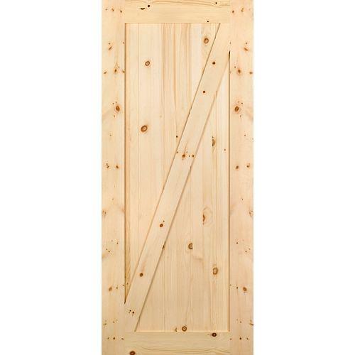 Porte de grange en pin noueux de style Z