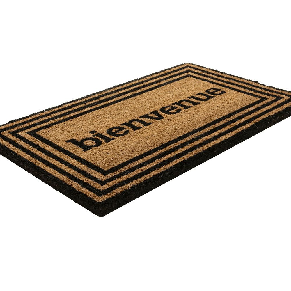 Home Decorators Collection Bienvenue Beige and Tan 1 ft. 6-inch x 2 ft. 6-inch Indoor/Outdoor Rectangular Coir Door Mat