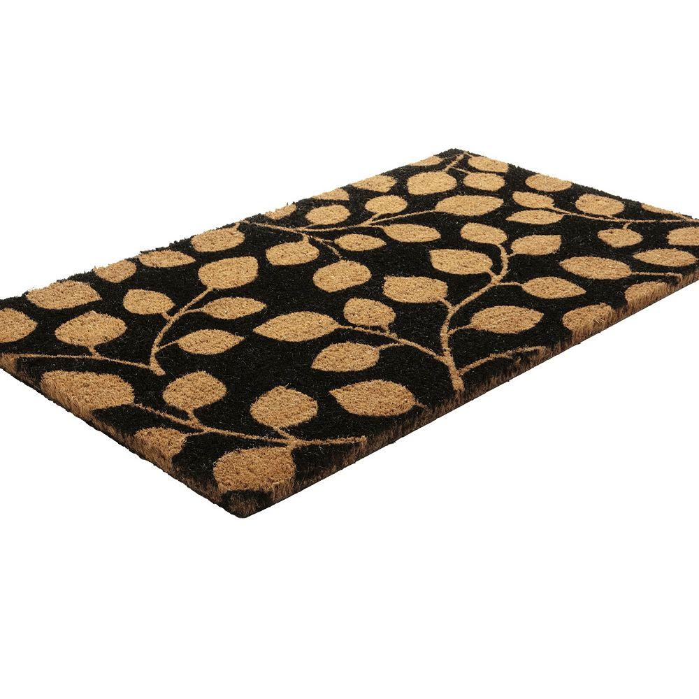 Home Decorators Collection Leaf Me Alone Brown 1 ft. 6-inch x 2 ft. 6-inch Indoor/Outdoor Rectangular Coir Door Mat