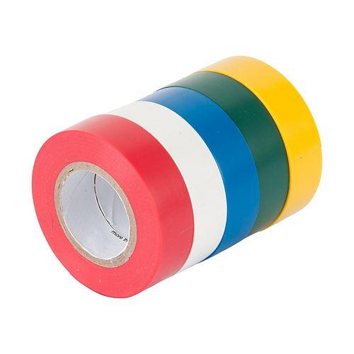 Ruban électrique, 0,5 po x 20 pi, couleurs assorties