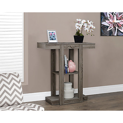 """32"""" Long Hall Console Table in Dark Taupe"""