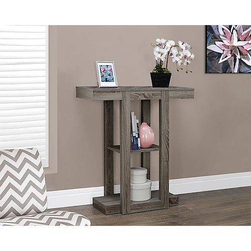"32"" Long Hall Console Table in Dark Taupe"