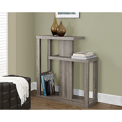 """32"""" Long Hall Console Table with Two Shelves in Dark Taupe"""