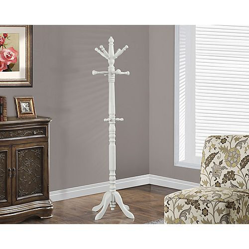 Monarch Specialties Antique White Traditional Solid Wood Coat Rack