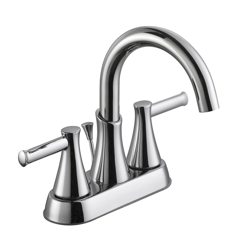 Glacier Bay 8000 Series Centerset (4-inch) 2-Handle Mid Arc Bathroom Faucet in Chrome with Lever Handles