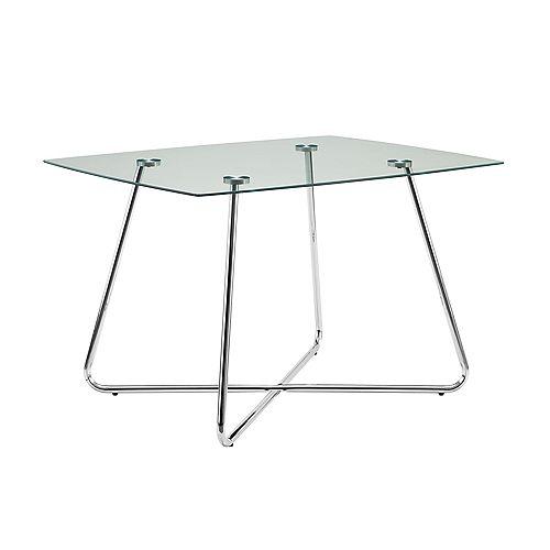 "Table A Manger - 40""Dia / Metal Chrome / Verre Trempe 8Mm"