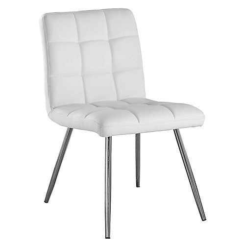 Leather Metal Chrome Slat Back Armless Dining Chair with White Faux Leather Seat - (Set of 2)