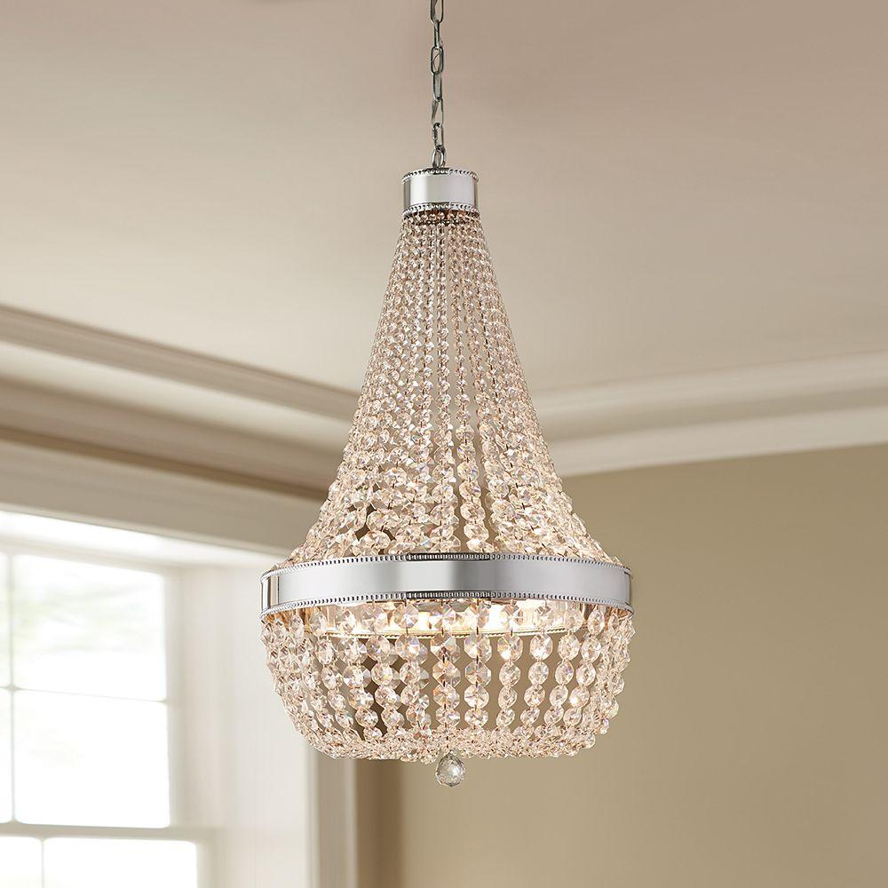 Home Decorators Collection Lustre, chromé, 8ampoules, 60W, diffuseur ornementé d'un rang de cristal