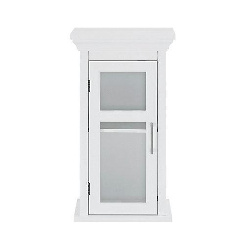 Armoire murale pour salle de bains avec porte en verre trempé, blanc