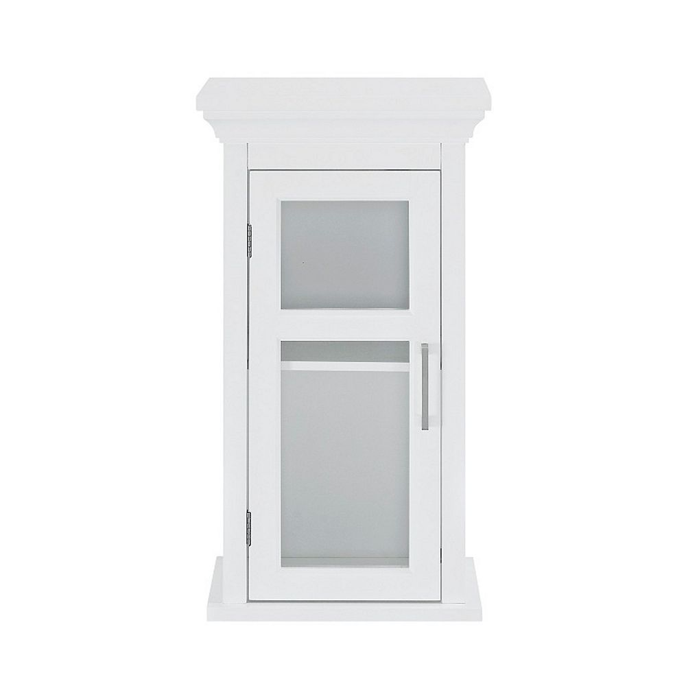 Glacier Bay Bathroom Storage Wall Cabinet with Tempered Glass Door in White