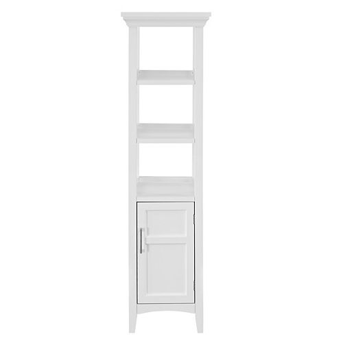Glacier Bay Bathroom Linen Storage Tower Cabinet with 3 Open Shelves in White