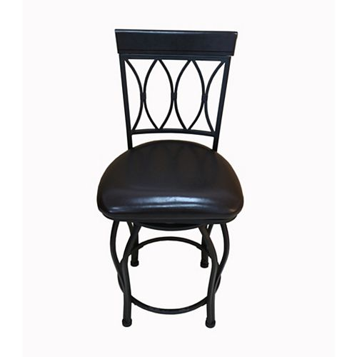 Deluxe Leather Metal Black Contemporary Full Back Armless Bar Stool with Black Faux Leather Seat