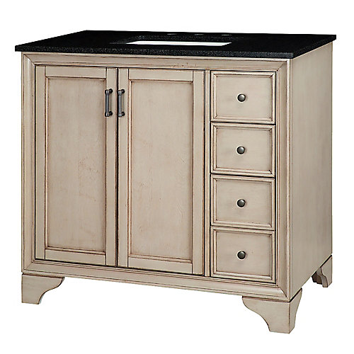 Hazelton 37-inch W Vanity in Antique Grey Finish with Granite Top in Black