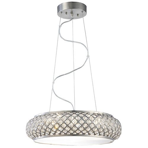 Home Decorators Collection Luminaire suspendu, inox brossé, 6 ampoules DEL, diffuseur ornementé de cristal