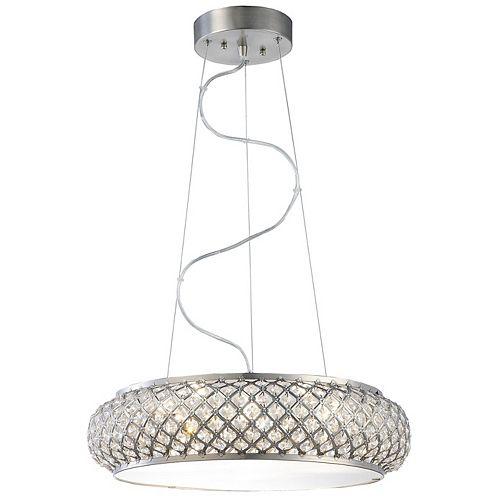 Luminaire suspendu, inox brossé, 6ampoules DEL, diffuseur ornementé de cristal