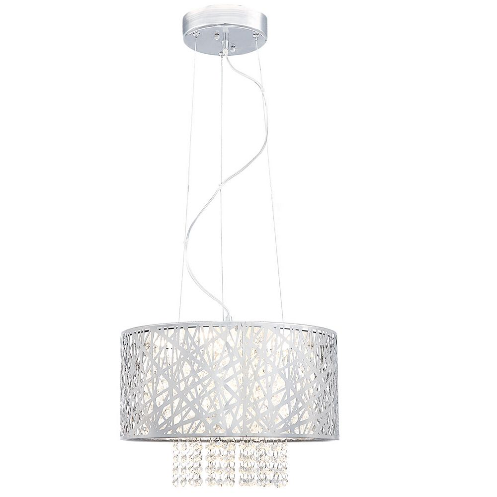 Home Decorators Collection 6-Light Chrome Integrated LED Pendant with Laser Cut Mirrored Stainless Steel Shade