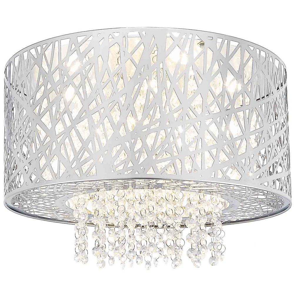 Home Decorators Collection 6 Light Led Mirrored Stainless Steel Flush Mount The Home Depot Canada