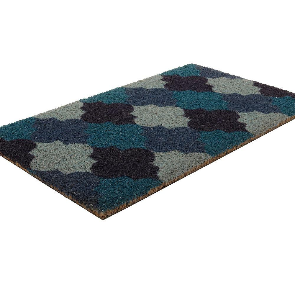 Home Decorators Collection Moroccan Tile Blue 1 ft. 6-inch x 2 ft. 6-inch Indoor/Outdoor Rectangular Coir Door Mat