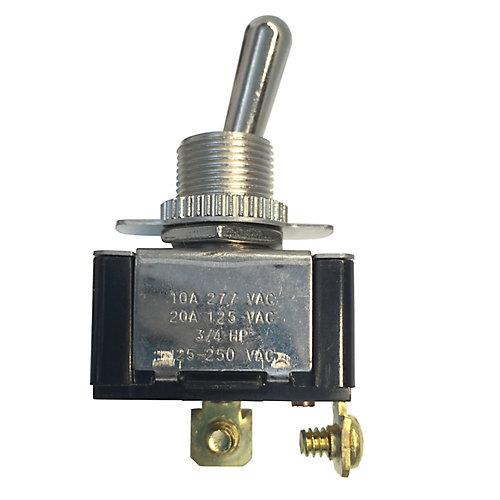 Heavy-duty Toggle Switch, Single Pole Single Throw, 20A 125VAC, On/Off, 1/Card