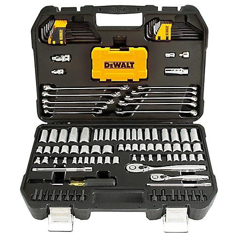 Ensemble d'outils 1/4 po x 3/8 po pour la mécanique d'entraînement chromé poli (142 pièces)
