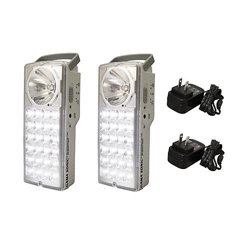 Rechargeable 24-LED Emergency Lantern/High-Beam Flashlight, (Set of 2)