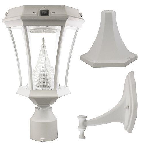 Luminaire solaire extérieur mural/sur poteau avec LED blanc doux, de style Victorien, blanc